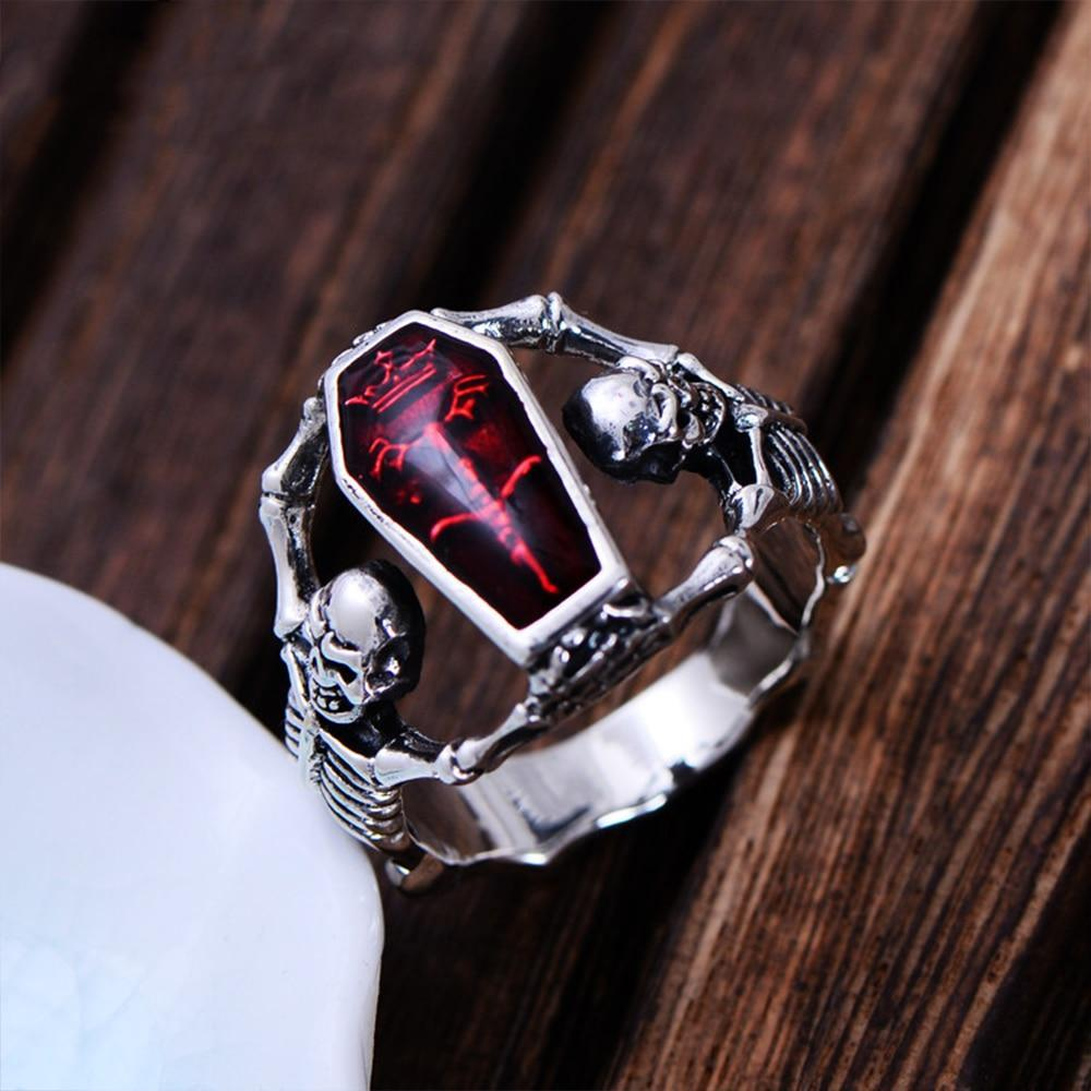 Punk Bones Skull Sterling Silver Ring for Men 7