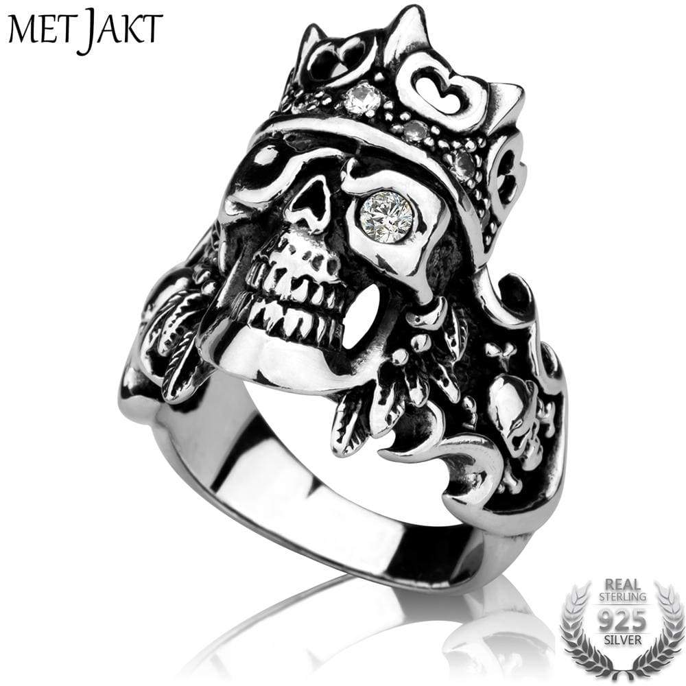 Punk Rock Crown Skull Ring with Zircon Cool Gothic Ring For Men 8