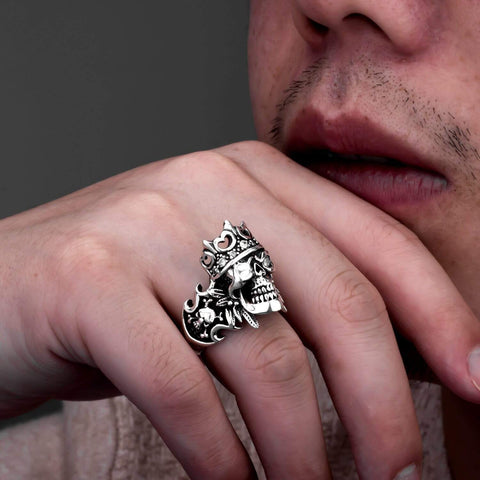 Image of Punk Rock Crown Skull Ring with Zircon Cool Gothic Ring For Men 8