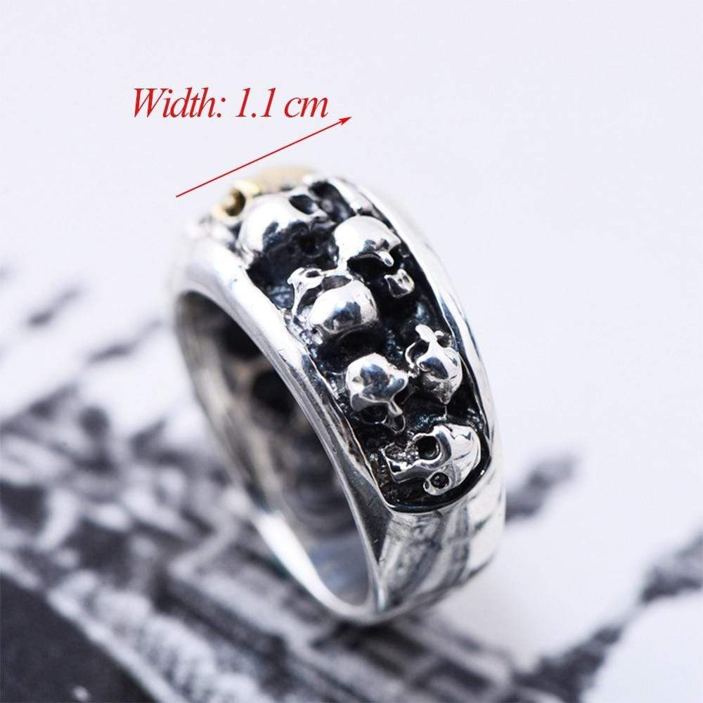 Punk Rock Skull Rings Solid S925 Sterling Silver Ring for Man