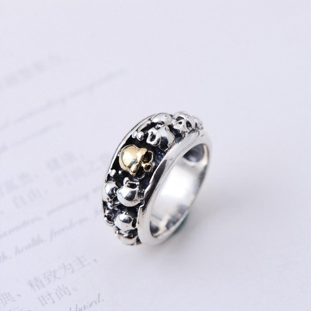 Punk Rock Skull Rings Solid S925 Sterling Silver Ring for Man 8
