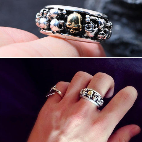 Image of Punk Rock Skull Rings Solid S925 Sterling Silver Ring for Man 8