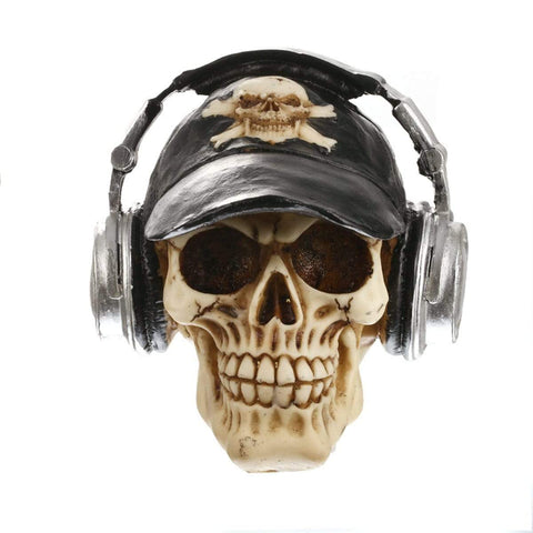Resin Craft Statues Skull With Headphone Skull Figurines Sculpture Home Decoration Accessories Halloween Decoration