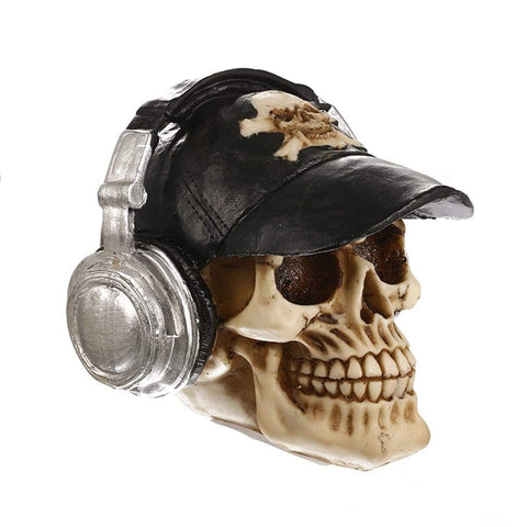 Image of Resin Craft Statues Skull With Headphone Skull Figurines Sculpture Home Decoration Accessories Halloween Decoration