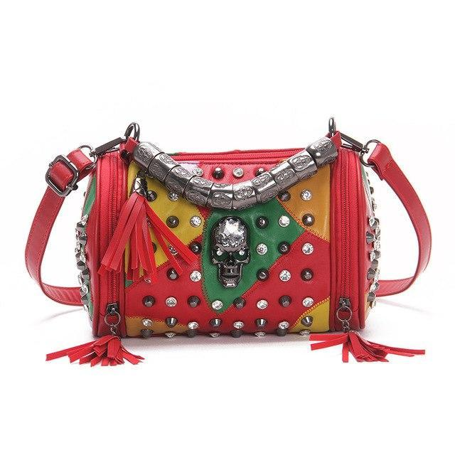 Rock Rivets Patchwork Leather  Skull Purse with Multi colour