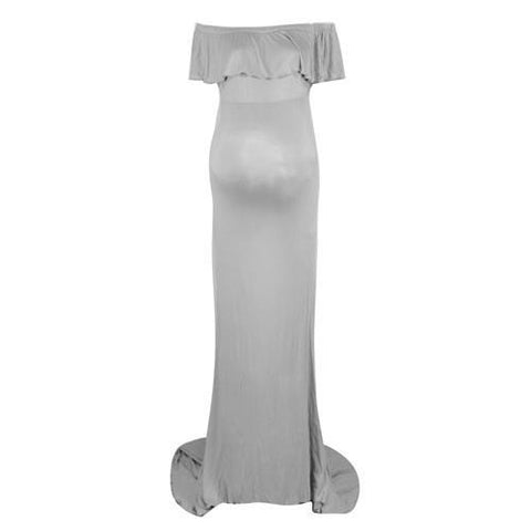 Sheath Ruffle Collar Off Shoulder Sleeveless Maxi Long Elegant Maternity Dress For Photography Props Grey / S joeypatch