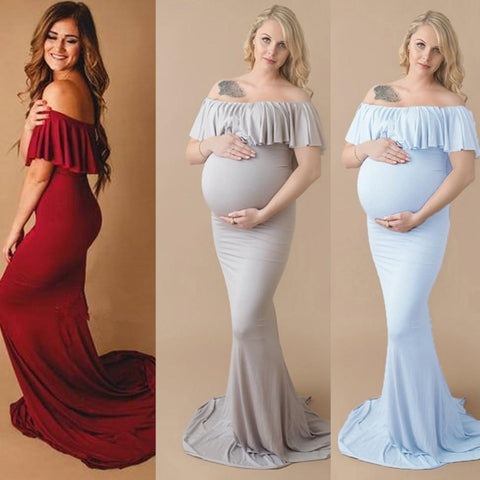 Sheath Ruffle Collar Off Shoulder Sleeveless Maxi Long Elegant Maternity Dress For Photography Props joeypatch