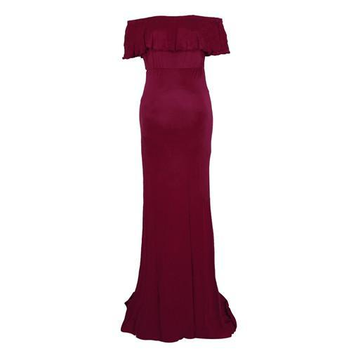 Sheath Ruffle Collar Off Shoulder Sleeveless Maxi Long Elegant Maternity Dress For Photography Props Red / S joeypatch