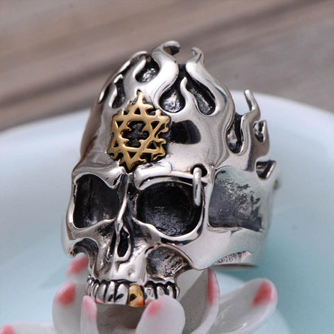 Image of Skull Ring with Flame Hexagram Sterling Silver Ring for Men 8.5
