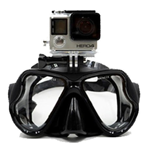 Image of Snorkeling Diving Mask With Camera Mount Black joeypatch