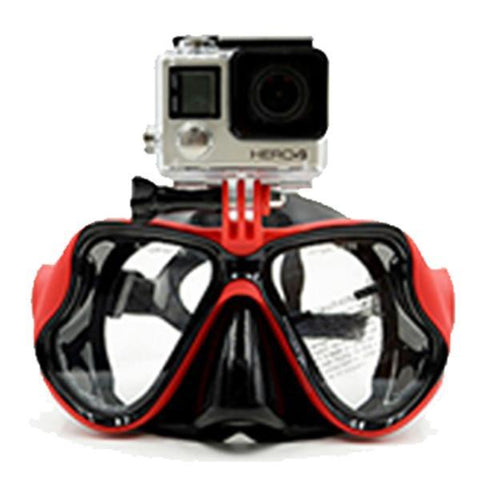 Image of Snorkeling Diving Mask With Camera Mount Red joeypatch