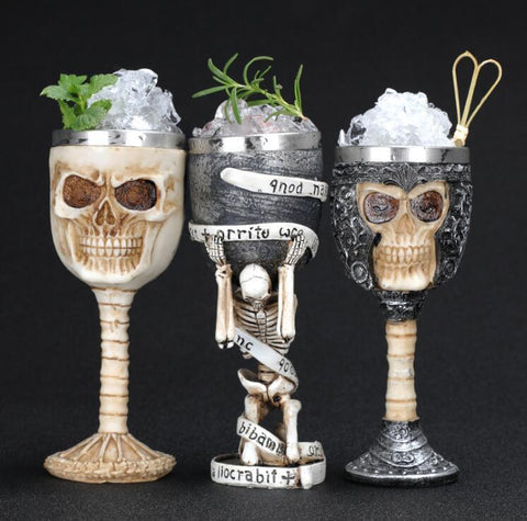 Image of Stainless Steel Goblet 3D Skull Skeleton Claw Wine Glasses Glass Beer Steins Halloween Party Drinking Glass Whiskey Cup 1 / 200ml