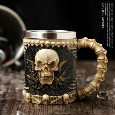Image of Stainless Steel Goblet 3D Skull Skeleton Claw Wine Glasses Glass Beer Steins Halloween Party Drinking Glass Whiskey Cup 10 / 200ml
