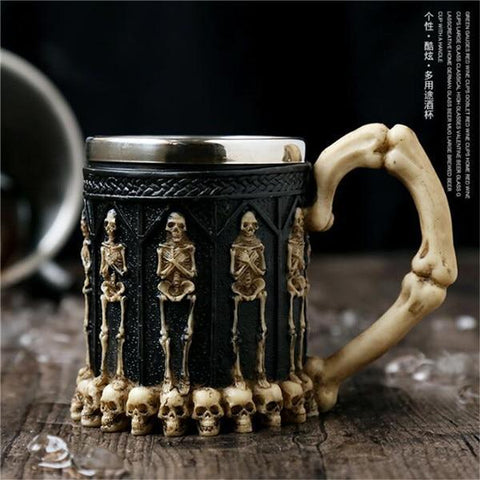 Image of Stainless Steel Goblet 3D Skull Skeleton Claw Wine Glasses Glass Beer Steins Halloween Party Drinking Glass Whiskey Cup 11 / 200ml