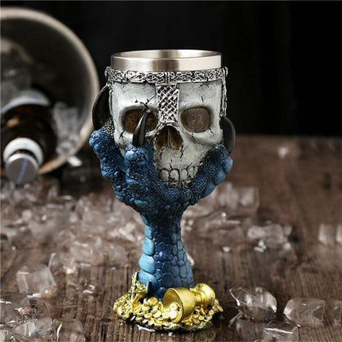 Image of Stainless Steel Goblet 3D Skull Skeleton Claw Wine Glasses Glass Beer Steins Halloween Party Drinking Glass Whiskey Cup 2 / 200ml