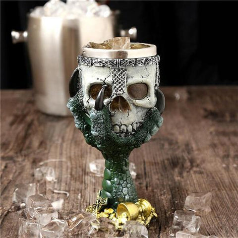 Image of Stainless Steel Goblet 3D Skull Skeleton Claw Wine Glasses Glass Beer Steins Halloween Party Drinking Glass Whiskey Cup 3 / 200ml