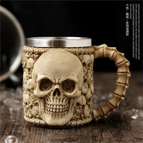 Stainless Steel Goblet 3D Skull Skeleton Claw Wine Glasses Glass Beer Steins Halloween Party Drinking Glass Whiskey Cup 9 / 200ml