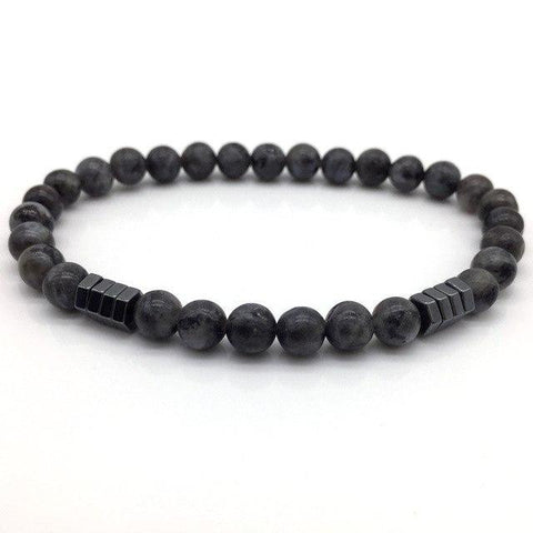 Image of Stone Bead Charm With Column Hematite Bracelet Charm Bracelets Ash NAIQUBE Official Store