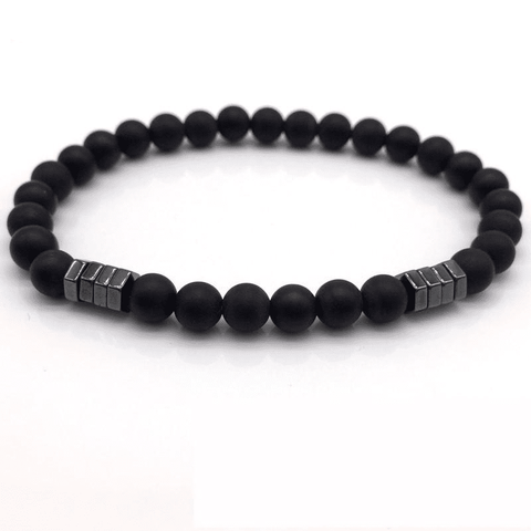 Image of Stone Bead Charm With Column Hematite Bracelet Charm Bracelets Black NAIQUBE Official Store