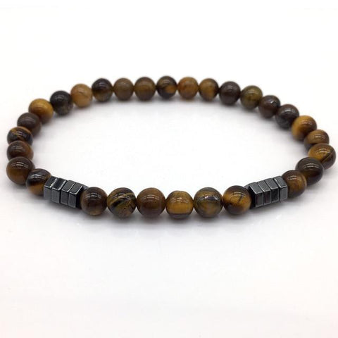 Image of Stone Bead Charm With Column Hematite Bracelet Charm Bracelets Gold NAIQUBE Official Store