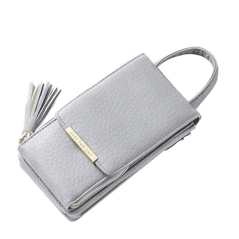 Image of Tassel Mobile Purse Bag Wallets Grey MAILAER Store
