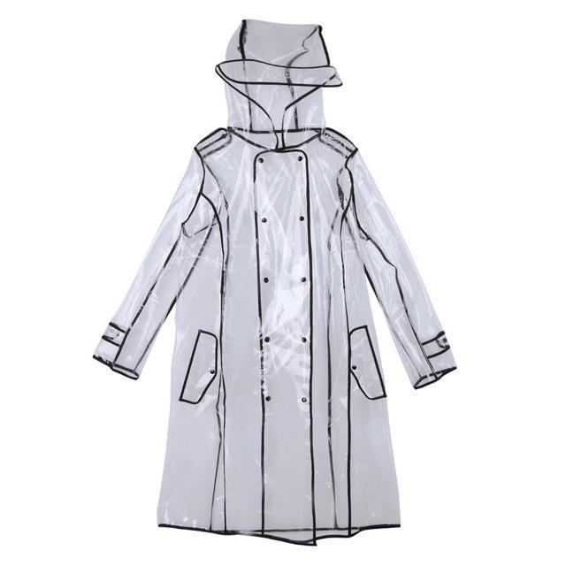 Transparent Raincoat With Belt  For Women Black / M joeypatch