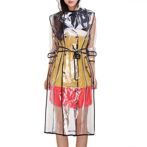 Image of Transparent Raincoat With Belt  For Women joeypatch