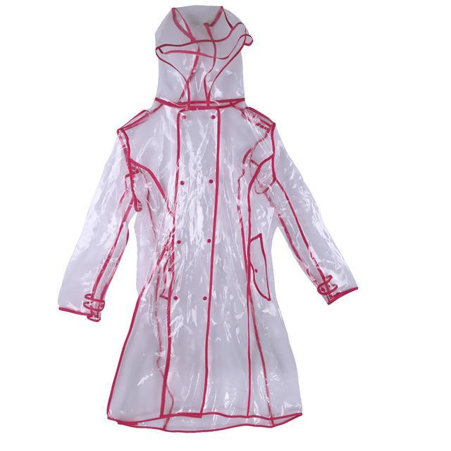 Transparent Raincoat With Belt  For Women Red / M joeypatch