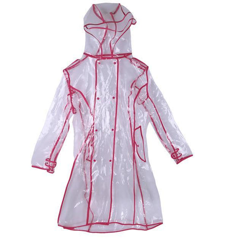 Image of Transparent Raincoat With Belt  For Women Red / M joeypatch