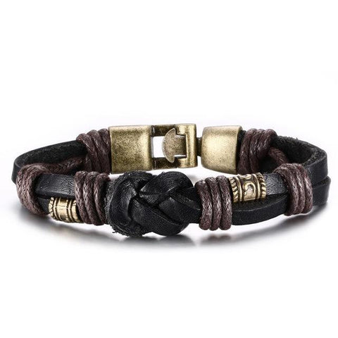 Vintage Bronze alloy Buckle Classical Style Leather Bracelet Charm Bracelets Black VNOX official store