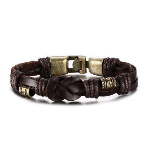 Vintage Bronze alloy Buckle Classical Style Leather Bracelet Charm Bracelets Brown VNOX official store