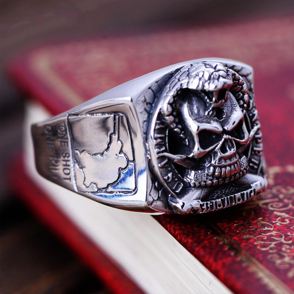 Vintage US Army Sniper Sterling Silver Ring for Men 7.5