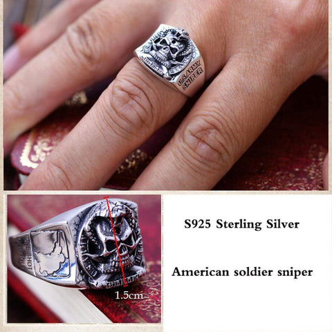 Image of Vintage US Army Sniper Sterling Silver Ring for Men 7.5
