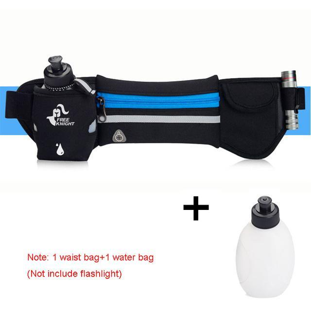 Waterproof Running Waist Sport Belt With Water Bottle Running Bags Blue STOUREG Store