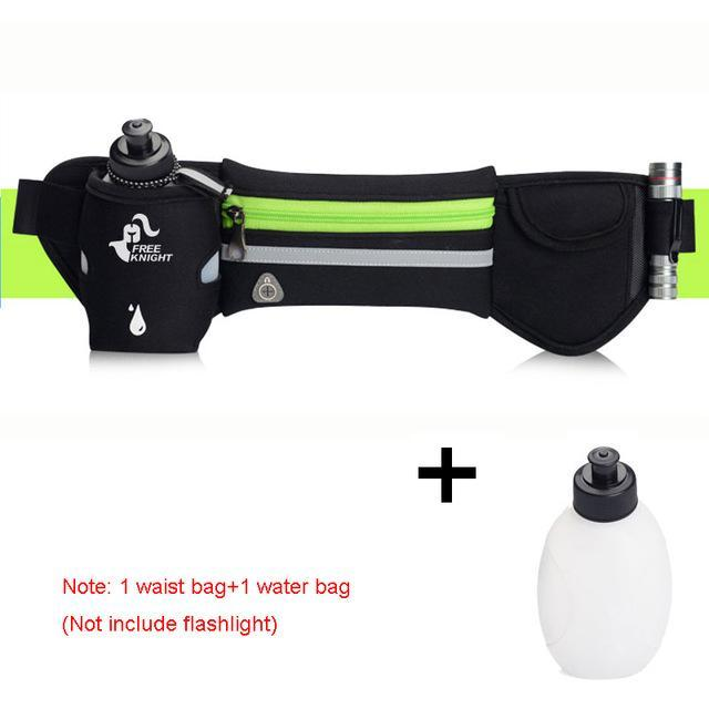 Waterproof Running Waist Sport Belt With Water Bottle Running Bags Green STOUREG Store