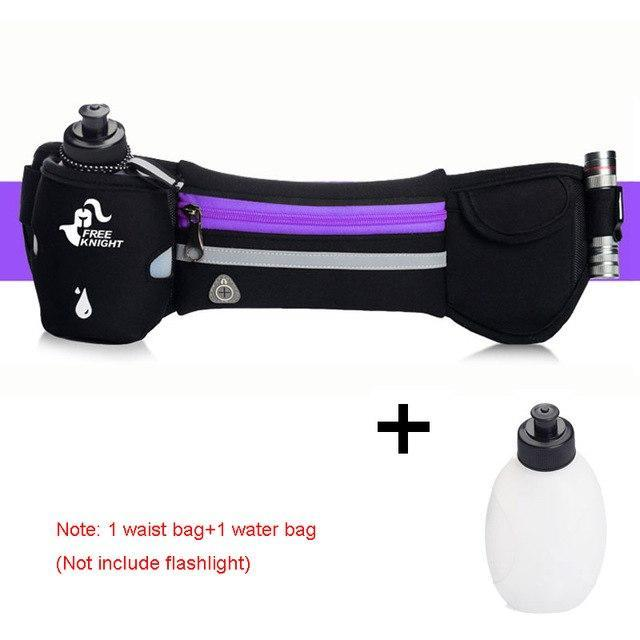 Waterproof Running Waist Sport Belt With Water Bottle Running Bags Purple STOUREG Store