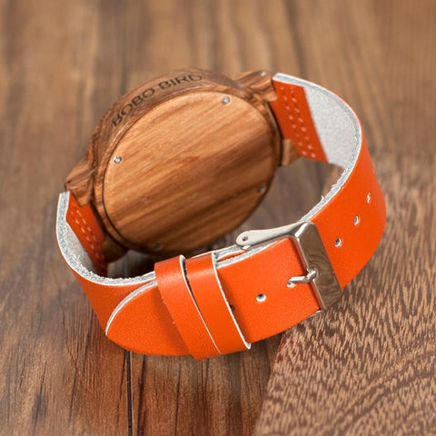 Image of Yellow and  Orange Leather Band Wood Quartz Watches With Calendar Quartz Watches BOBO BIRD Official Store