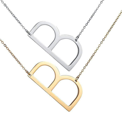 Image of ZIIME 2019 Gold Color Initial Letter Necklace Choker Women A - Z Shape Classic Alphabet Letter Necklaces Stainless Steel Jewelry Gold-color / A