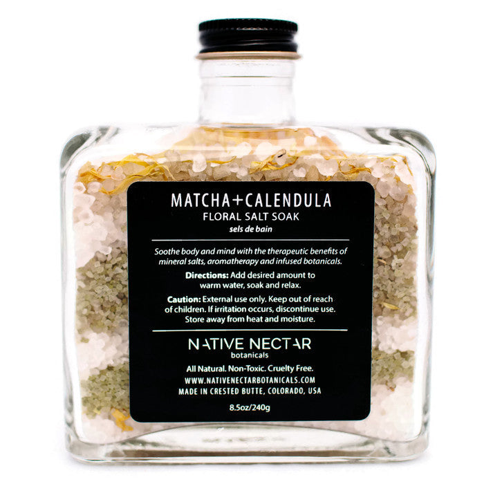 Matcha + Calendula Floral Salt Soak by Native Nectar