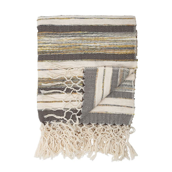 Textured Stripe Fringe Throw Blanket