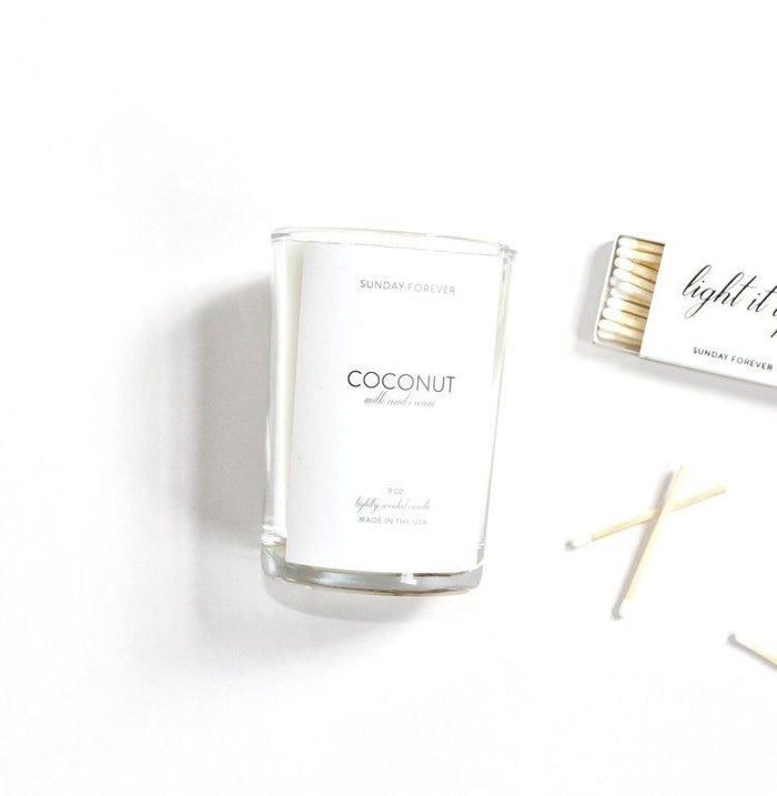 COCONUT MILK AND CREAM CANDLE BY SUNDAY FOREVER