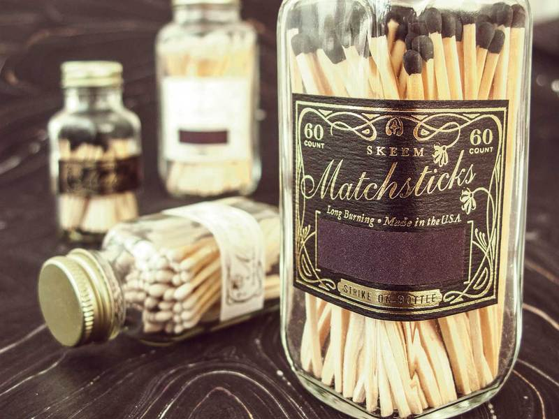 White Vintage Match Bottle by Skeem Design