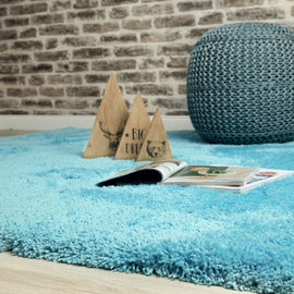 Hochflor Shaggy Teppich Carnival in Turquoise Wohnambiente