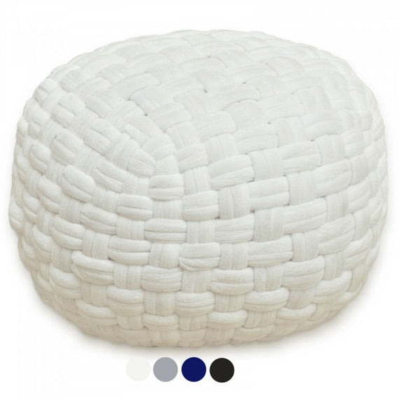 Velour Pouf in Weiß