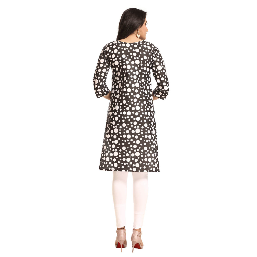 Black Polyester Polka Dot Printed 3/4th Sleeved Kurti