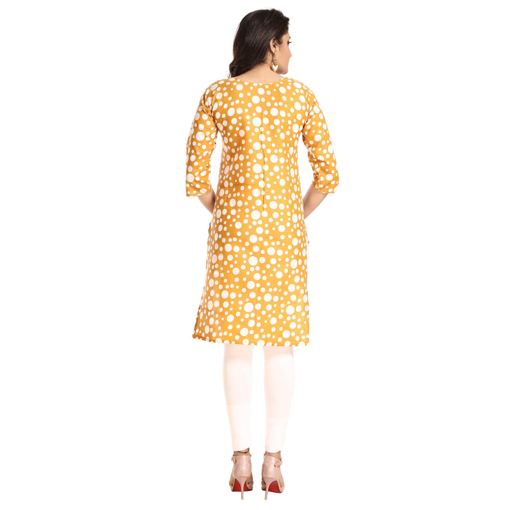 Mustard Polyester Polka Dot Printed 3/4th Sleeved Kurti