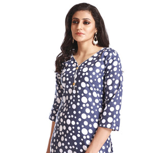 Navy Blue Polyester Polka Dot Printed 3/4th Sleeved Kurti