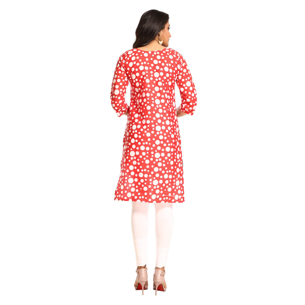 Red Polyester Polka Dot Printed 3/4th Sleeved Kurti