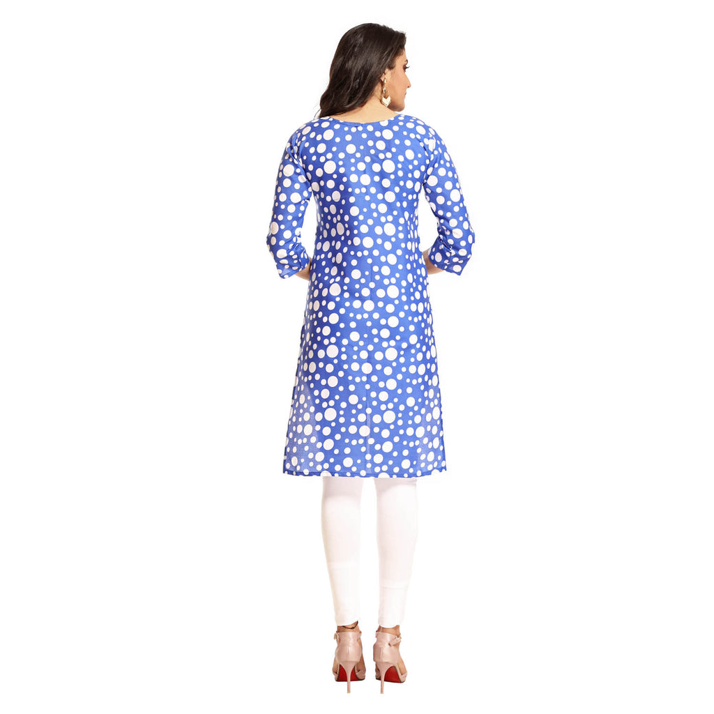 Royal Blue Polyester Polka Dot Printed 3/4th Sleeved Kurti