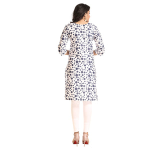 White Polyester Polka Dot Printed 3/4th Sleeved Kurti